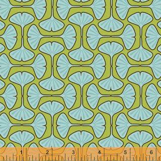 Blue and green ginkgo geometric print
