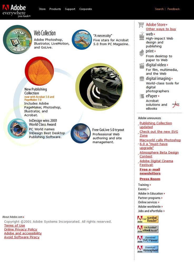Adobe website 2001