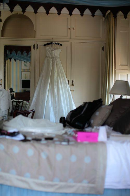 Wedding dress in bride's room