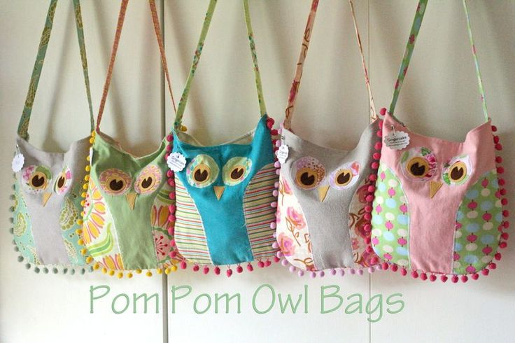 Okay, these are freakin' cute! Gingercake pompom Owl Bags