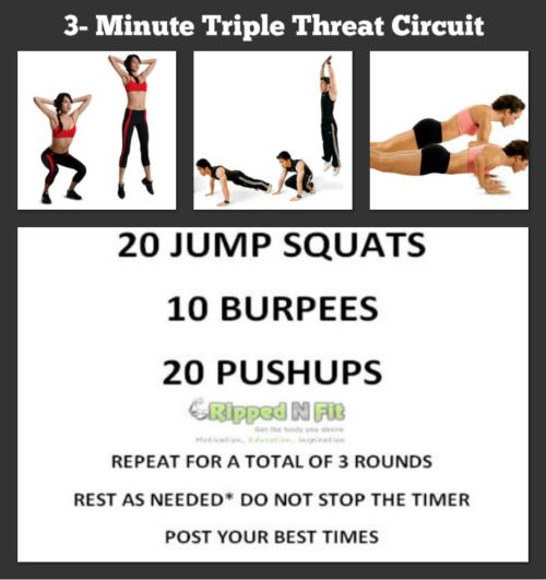 What happens when you take 3 simple exercises and put them into a routine? When done separately, 20 jump squats, 10 burpees, and 20 pushups might seem pretty simple. But, what if they were all put together into a high intensity circuit? Not so easy anymore? Many people don't have time to train each day, let alone do a full