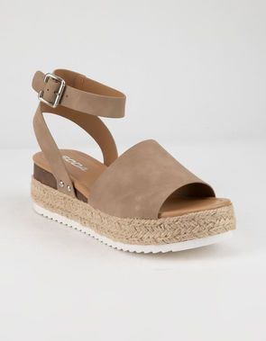eb9cd1dabde SODA Topic Natural Womens Espadrille Flatform Sandals