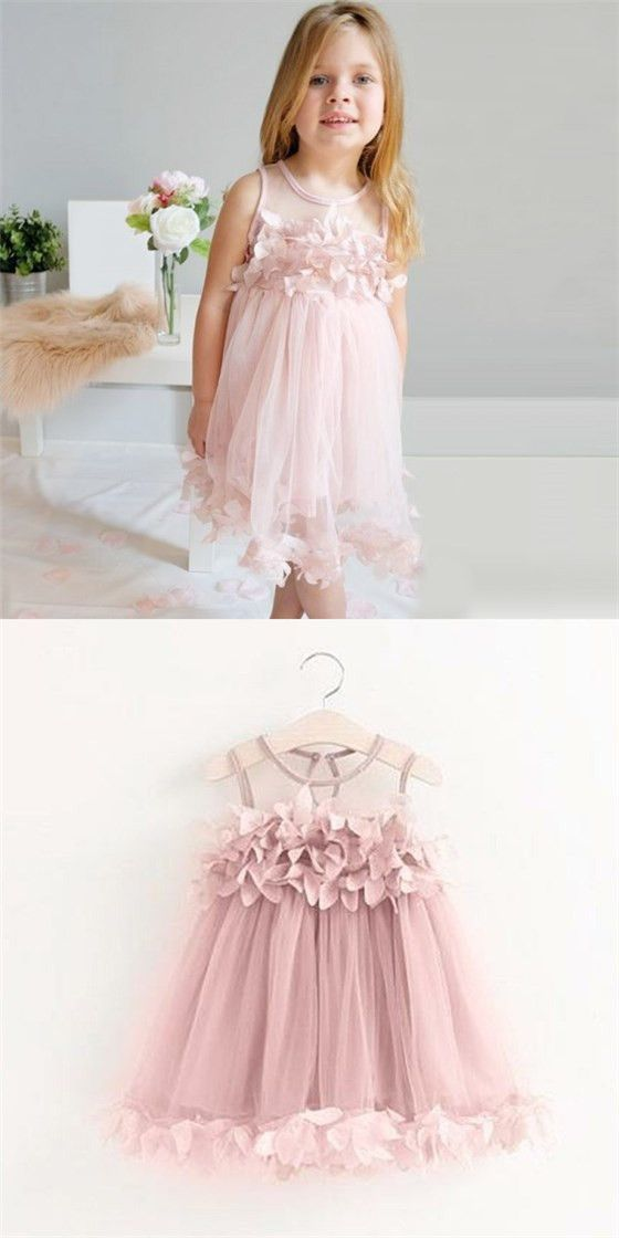4af029edb25 Cute Round Neck Pink Tulle Cheap Flower Girl Dresses with Appliques ...