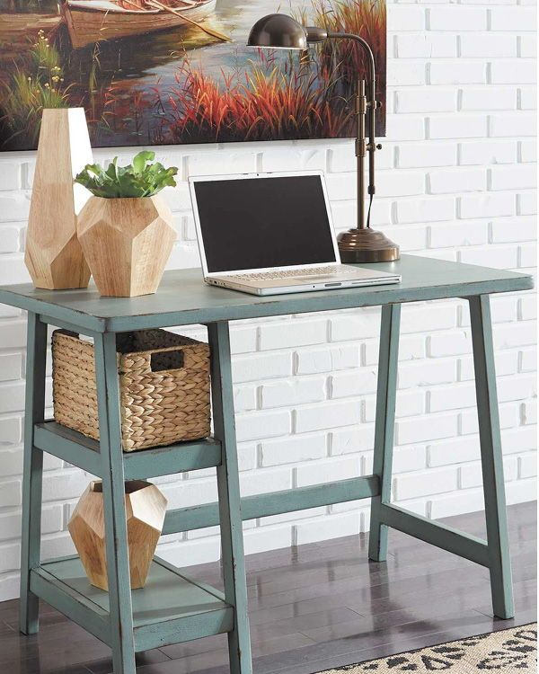 Space Challenged Rooms Call For Simply Chic Style Like The Mirimyn Small Home Office Desk In Teal Backtos Tiny Home Office Small Home Office Desk Small Desk