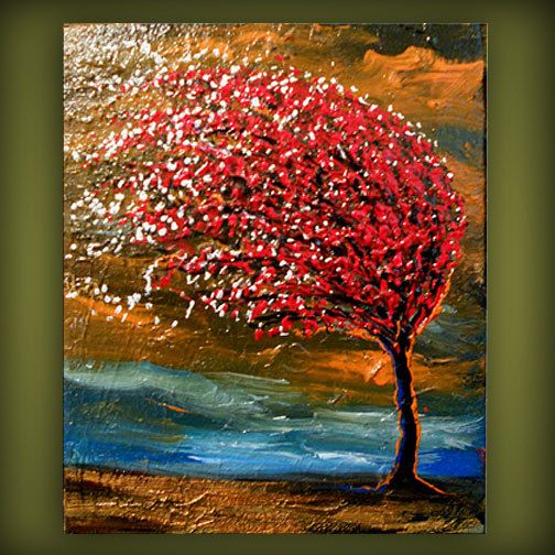 art original abstract painting palette knife painting wind ...