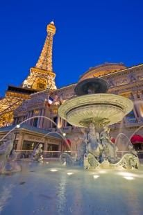 The Famous Fountain La Fontaine Des Mers In Front Of Paris Las Vegas Hotel And Casino