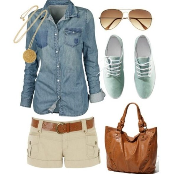 Definitely no office outfit, but totally cute for the beach or a shopping trip on a hot day. Choose a heavier denim and some tights to make this work for colder temperatures in fall.