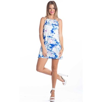 Blue Floral Mini Dress From Showpo