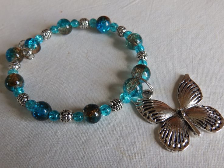 Aqua and Silver ball spacers and a Butterfly charm £5.00