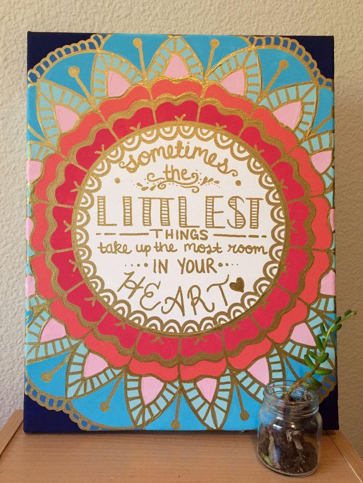 Custom Quote Monogram Canvas Gold Mandala by CaliCanvas on Etsy