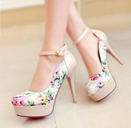 2014 Newly Fashion Sweetly Flower High Heel Pumps Apricot