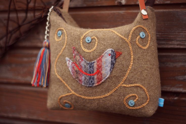 Shoulder bag from reclaimed wool sweater with hand embroidery and bird applique.