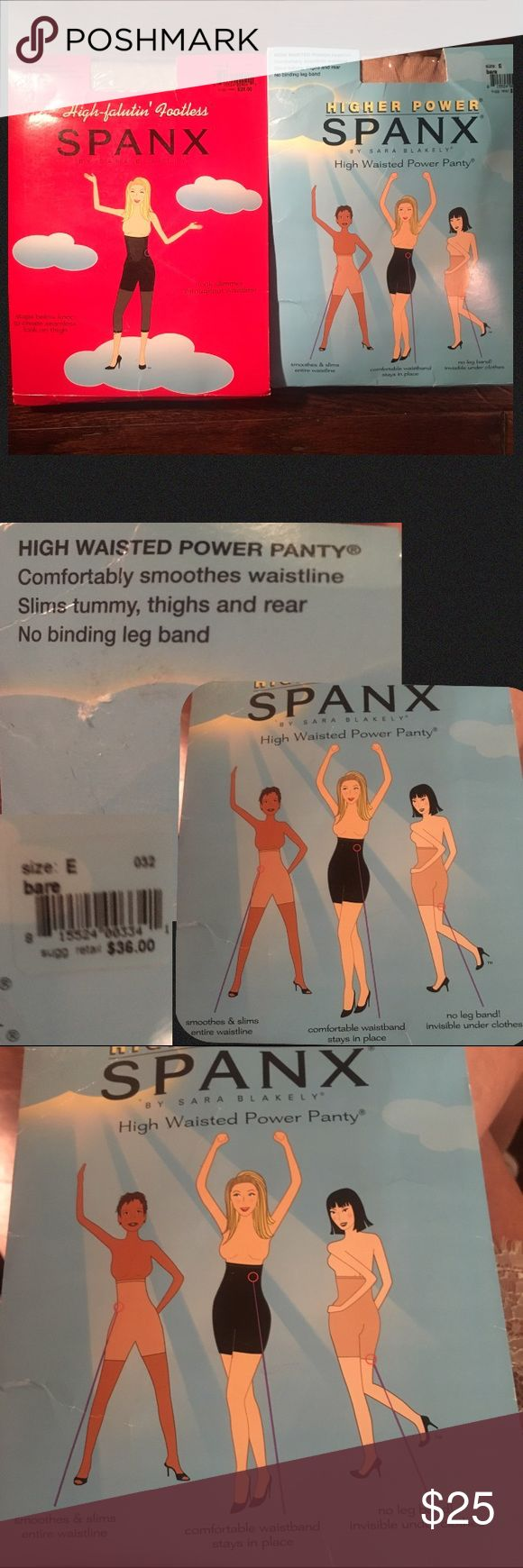 SPANX 1 pair high power, high waisted power panty, smooths & slims,comfortable stay in place waist band, color: bare size E. -1 pair High faluting footless, stops below the knee to create a seamless look on thigh, slimmer waist line.-color buff size E. NWT in packing, never worn. $66 retail price SALE both pairs $45 or $25 each.😊or make an offer. SIZE CHART ON LAST PICTURE SPANX Intimates & Sleepwear Shapewear