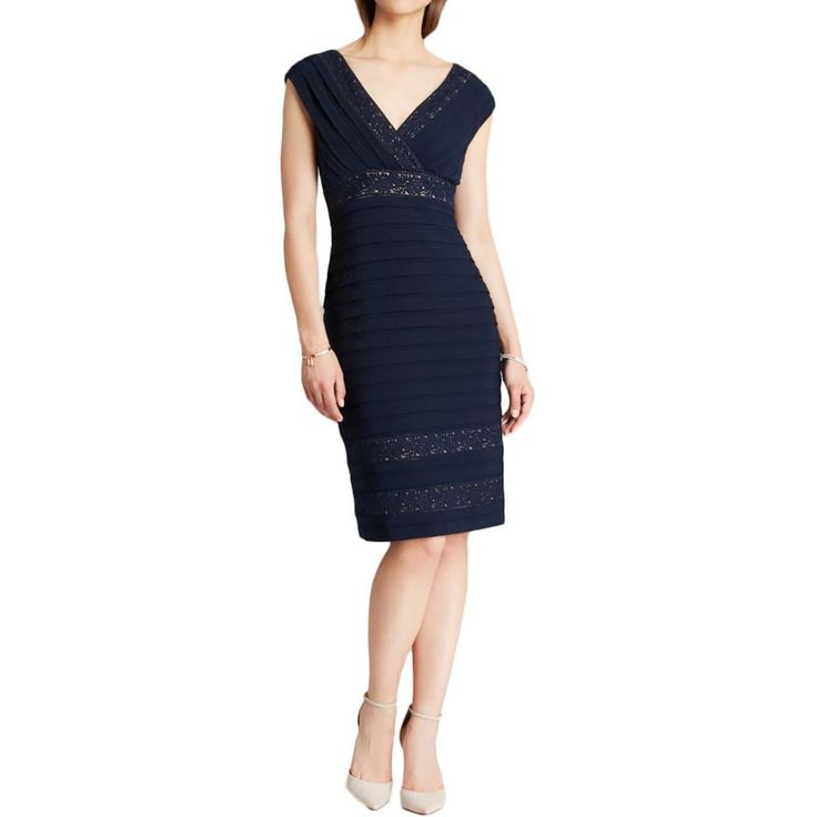 Adrianna Papell Womens Lace Shutter Pleat Cocktail Dress