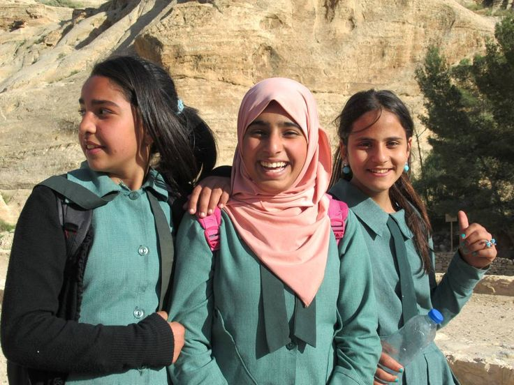 These Jordanian school girls visiting Petra are having a good day.