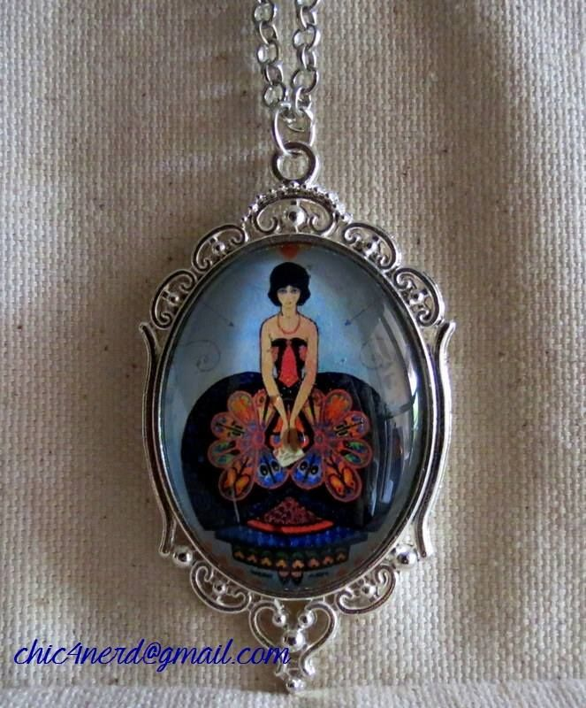 """Ciondolo (cameo 40x30mm)   Soggetto:  """"People's Home Journal"""" Cover_illustrated by Walter Maya, February 1924  #vintageillustration #illustration #cabochon #pendant #chic4nerd"""