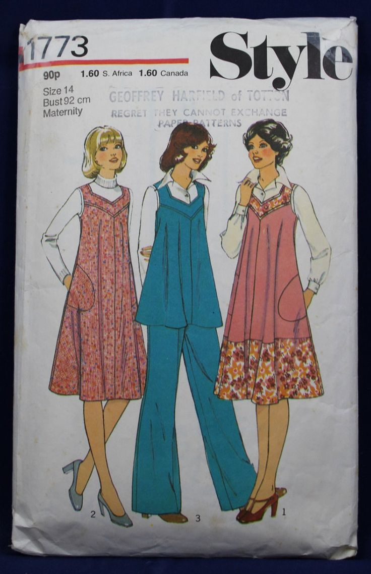 902 best vintage maternity patterns images on pinterest vintage 1970s sewing pattern for a maternity dress trousers in size 14 style 1773 ombrellifo Choice Image