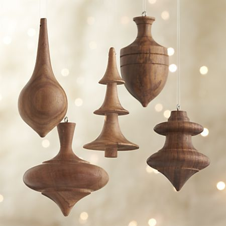 Set of 5 Turned Wood Ornaments in View All Ornaments | Crate&Barrel