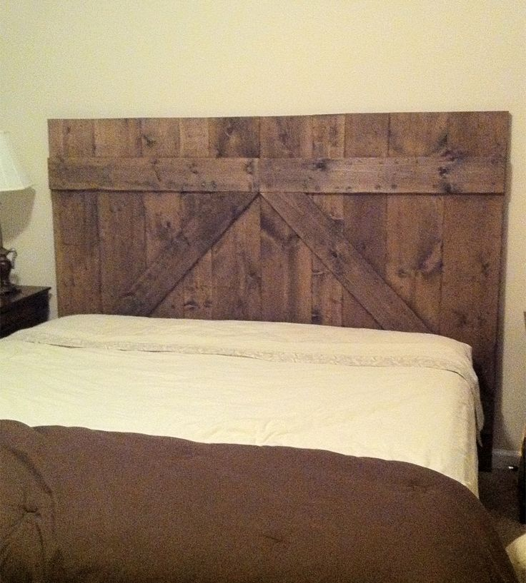 Wooden barn door headboard queen size head boards for Queen headboard ideas