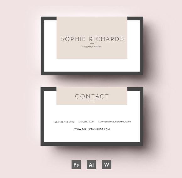 Two side business card template by Emily's ART Boutique on @creativemarket