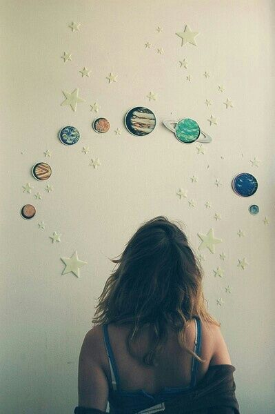 girl, planet, and stars