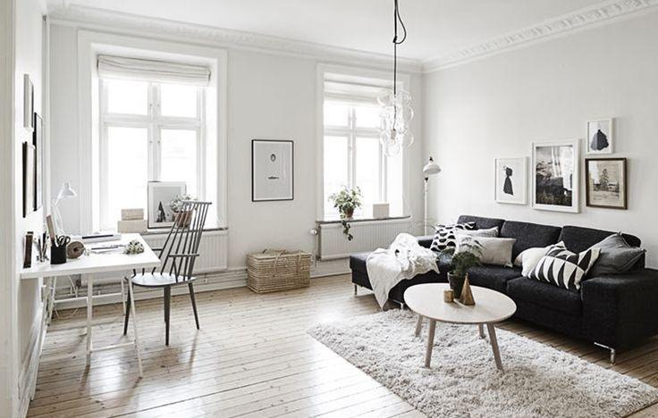 Salón nórdico con alfombra de pelo largo: ambiente cálido y reconfortante. | conkansei.com