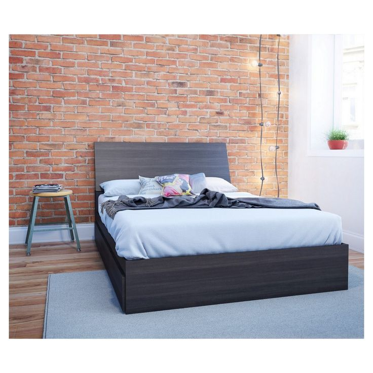 Tribeca Full Size Headboard and Storage Bed - Black - Nexera