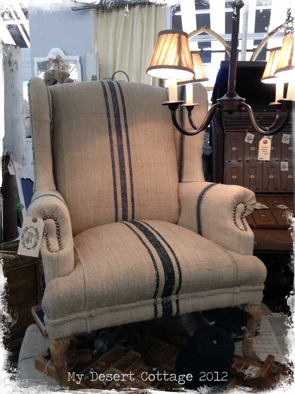 beige and blue burlap striped chair with nail head detail