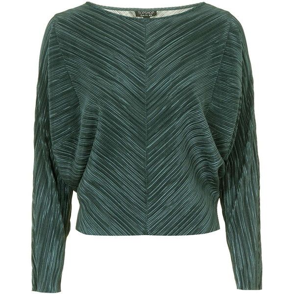 TOPSHOP Pleat Batwing Top (£36) ❤ liked on Polyvore featuring tops, sage, metallic top, green top, long sleeve batwing top, long sleeve tops and batwing top