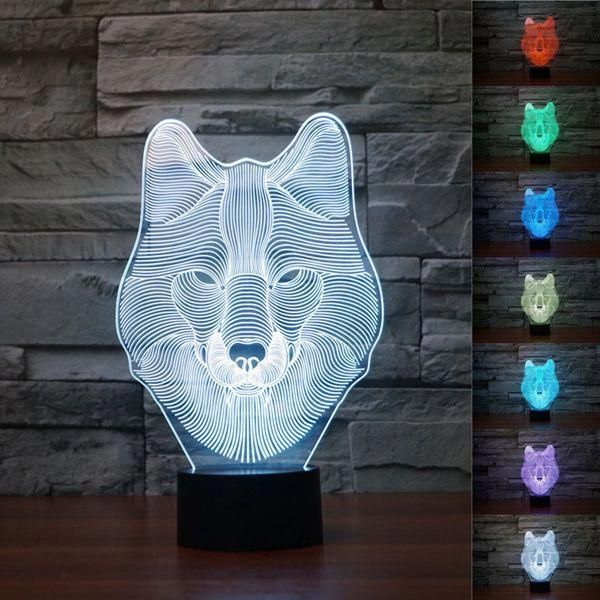 Wholesale Price Free Shipping Led Mood Lights 3d Animal Wolf Touch Control Table Lamp 7 Color Changing Led Ni Night Light Color Changing Led Led Night Light