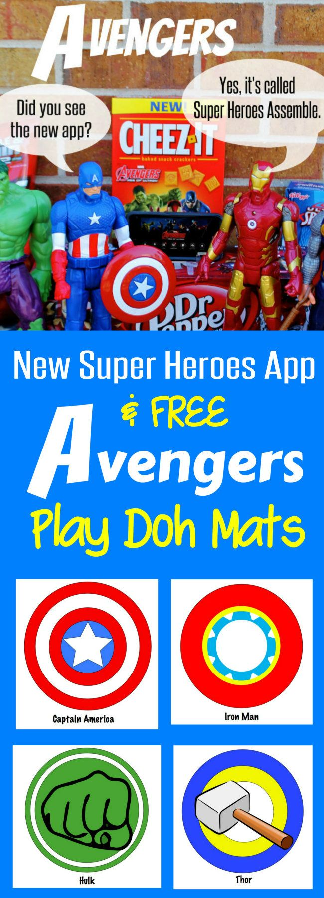 New Super Heroes Assemble App and FREE Avengers Play Doh Mats from HappyandBlessedHome.com plus enter to WIN $4,500 in Prizes #AvengersUnite #CollectiveBias #Ad, Superheroes, Captain America, Hulk, Thor, and Iron Man; Avengers Printables great for Avengers Birthday Party or Avengers Movie Party