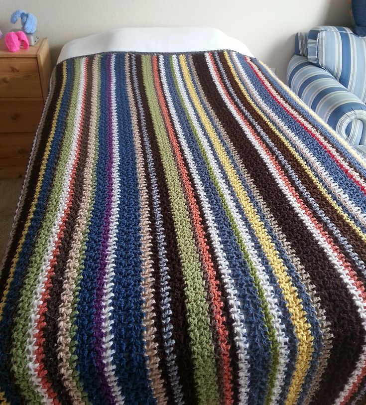 Striped Stash Buster Blanket, free pattern by Celina Lane. Super-easy, alternating SC & HDC stitches, size totally adjustable . . . ღTrish W ~ http://www.pinterest.com/trishw/ . . . #crochet #afghan #throw