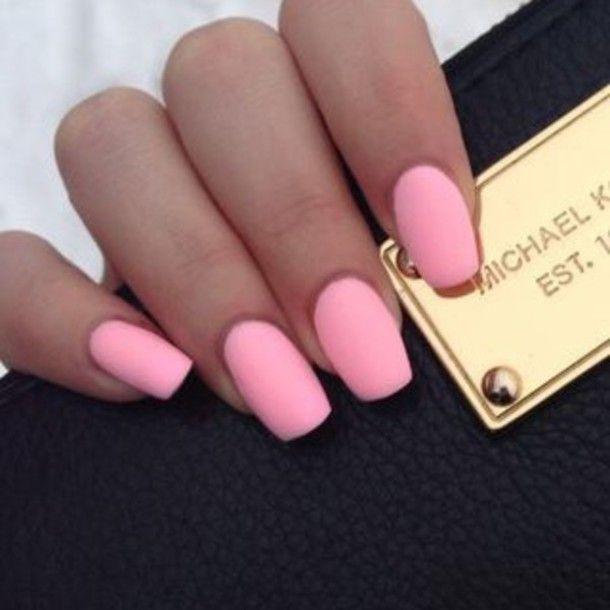 Nail polish: pink, nails, fake nails, matte nail polish, finger ...