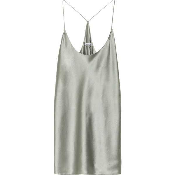 T by Alexander Wang Silk-satin camisole ($99) ❤ liked on Polyvore featuring tops, dresses, tanks, shirts, jade, racer back cami, racerback camisole, racerback cami and t by alexander wang