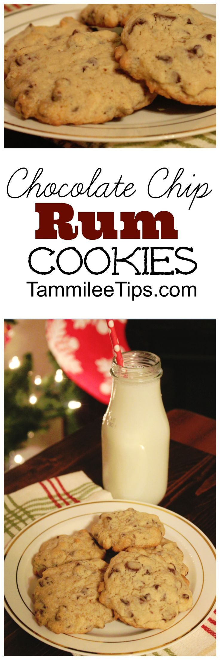 Chocolate Chip Rum cookies recipe perfect for Christmas and holiday parties! Add a bit of fun to your holiday cookies!