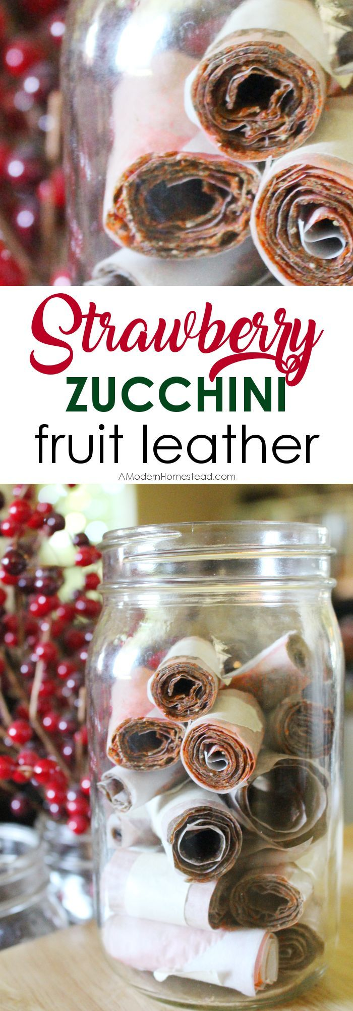 Homemade fruit leather is an easy way to give your family a healthy snack, and even sneak in some veggies too! Find out how to make this delicious fruit leather with a bunch of zucchini and just a few strawberries!