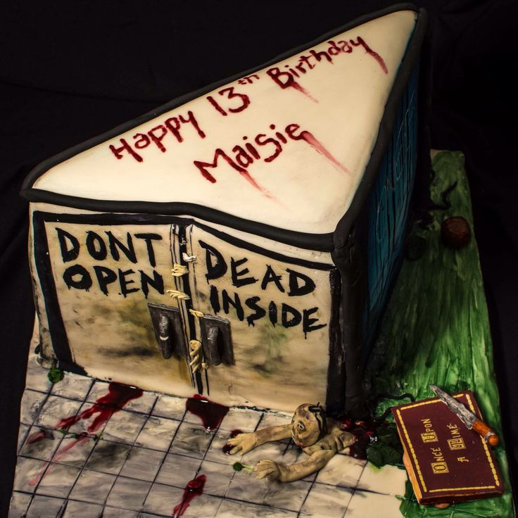 Triangular cake for a big fan of The Walking Dead, Game Of Thrones and Once Upon A Times.
