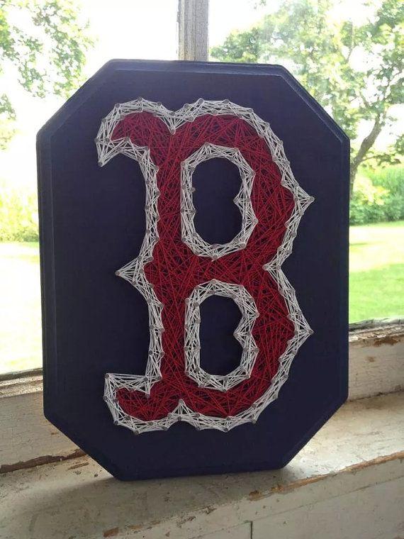 "Boston Red Sox ""B"" String Art, Red Sox wall hanging, Boston strong, baseball gift"