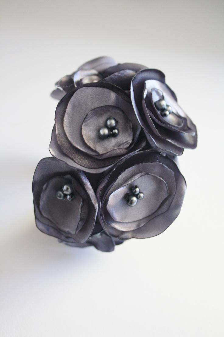 Satin flower cuff by Madd Lola Www.maddlola.etsy.com