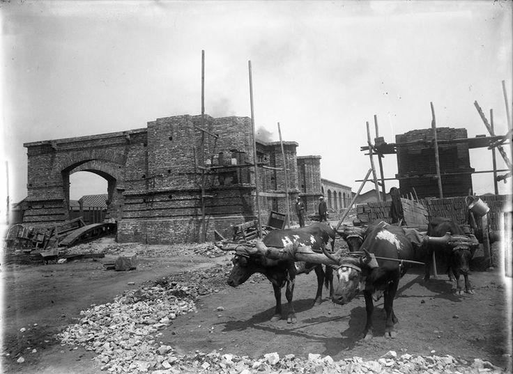Construcción de la Estación Mapocho, 1910