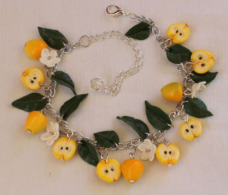 Jewelry Bracelet /Yellow Apples / Handmade / Polymer clay #Handmade #Chain