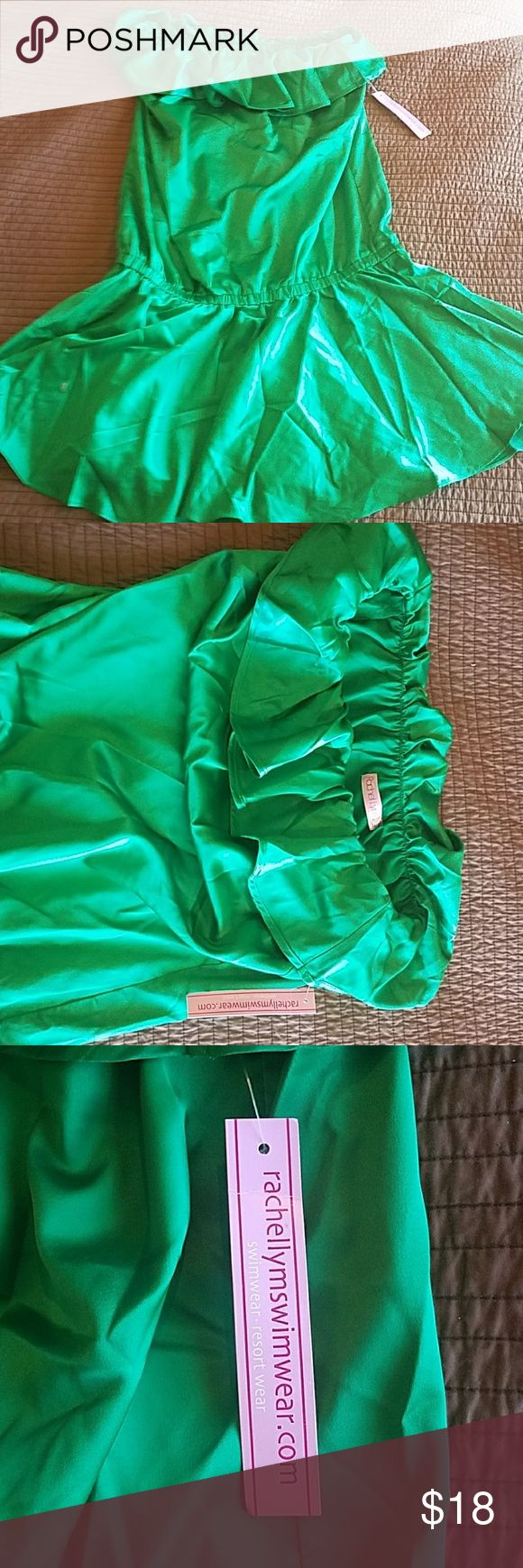 Rachel Lym Emerald swim cover up dress sz L NWT Swim cover up dress by Rachel Lym.  New with tags size large.  Emerald green color.  Photo in black is to show on body only.  New with tags.  Smoke free and pet free home. rachel lym Swim Coverups