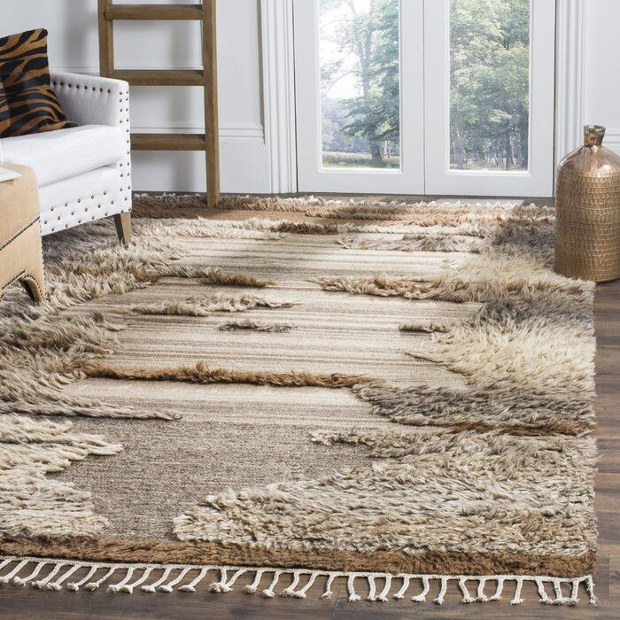 Millwood Pines Rizo Hand Knotted Wool Cotton Gray Brown Rug Rugs Brown Area Rugs Brown And Grey