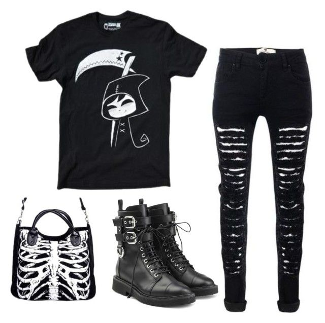 """grim reaper's day off"" by wraithofsalem ❤ liked on Polyvore featuring Giuseppe Zanotti"