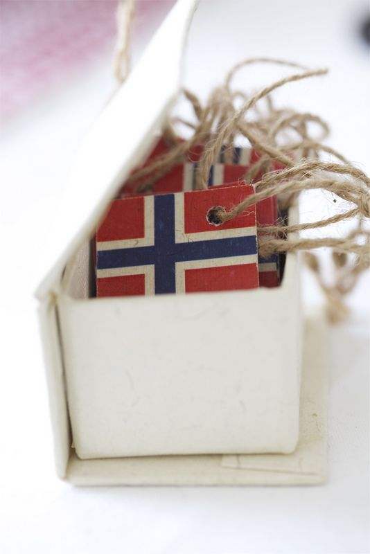 These small flags are strung on the tree as garland for #Christmas in #Norway