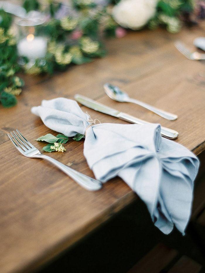 A simple table place setting.  #weddingideas #lightblue