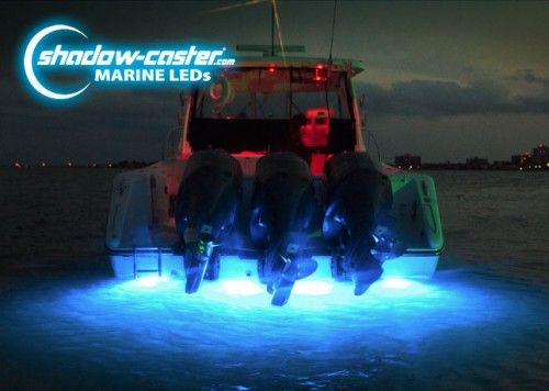 LED Underwater Boat Lights in Bimini Blue 4 Shadow-Caster SCM-10's in Bimini Blue light up the transom of this boat.