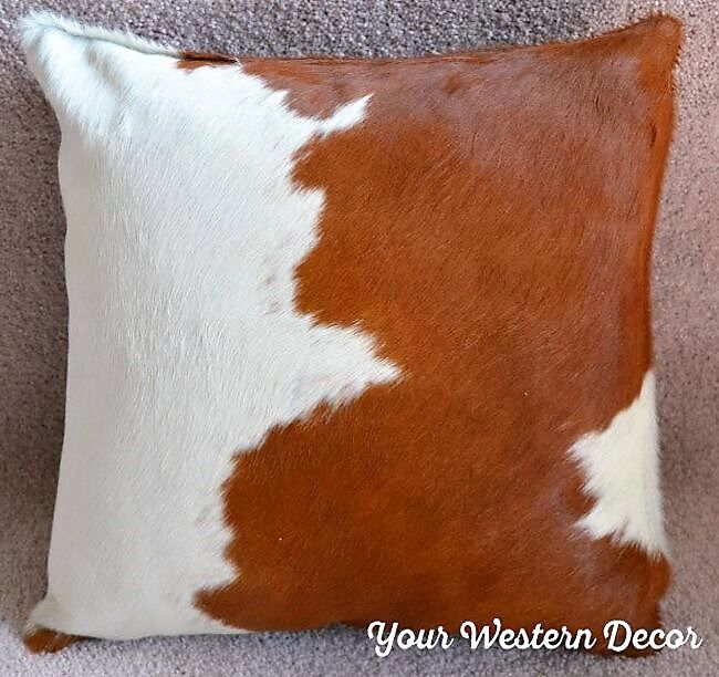 Light Brown and White Cowhide Pillows - Hair on Hide Pillows