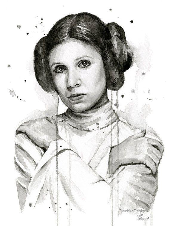 Princess Leia Art Print Princess Leia Watercolor by OlechkaDesign