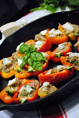 Sunday At the Giacometti's: Summer Baby Peppers with Sausage and Italian Mountain Gorgonzola